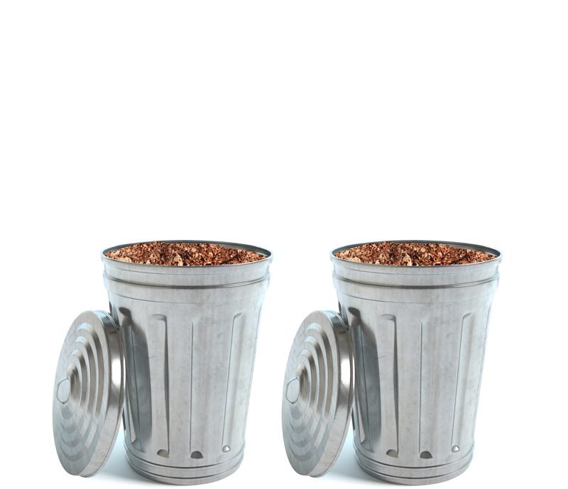 Trash Cans with mulching